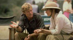Robert Redford et Meryl Streep sur le tournage de Out of Africa de Sydney Pollack